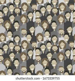 Cluster of people in gray clothes, male and female faces with a smile, geometric seamless pattern, vector. Grey mass. For printing on textiles, wallpaper, booklets, web pages.