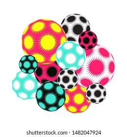 cluster of spiky stars balls in multicolor pop shades on white