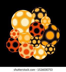 cluster of spiky stars balls in orange shades on black