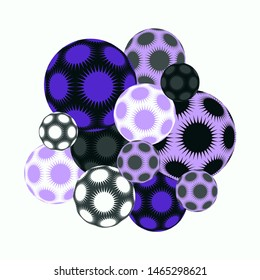 cluster of spiky stars balls in purple mauve shades on white