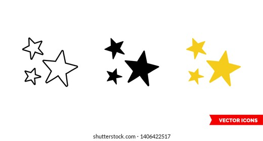 Clusters of stars icon of 3 types: color, black and white, outline. Isolated vector sign symbol.