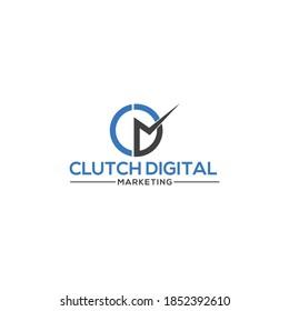 Clutch Digital Marketing CDM letter Logo design, C, D, M Abstract Initial Logo. Vector graphic design.