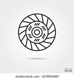 Clutch disc, vector line icon. Automotive parts, repair and service symbol.