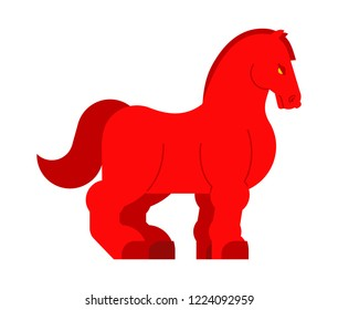Clydesdale red Strong heavy horse. Draft Shire Horse. Power big steed. Cartoon animal vector