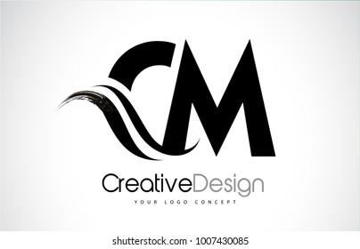 CM C M Creative Modern Black Letters Logo Design with Brush Swoosh