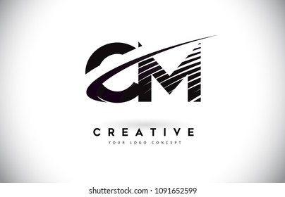 CM C M Letter Logo Design with Swoosh and Black Lines. Modern Creative zebra lines Letters Vector Logo