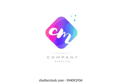 cm c m  pink blue rhombus abstract 3d alphabet company letter text logo hand writting written design vector icon template