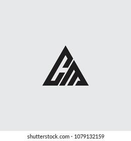 cm initial logo vector, triangle