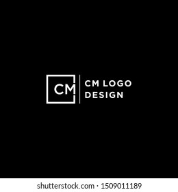 CM Letter Logo Design inspiration with white square and Sans Serif Font Vector Illustration for business company