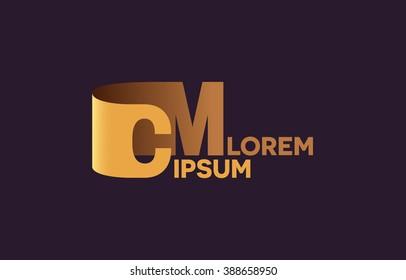 CM letters logo, C and M letters logo alphabet design.