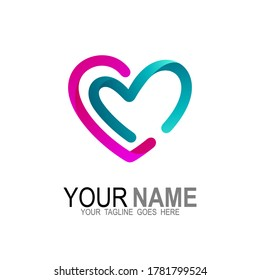 CM logo with love design combination, heart and letter CM logo, C, M, C and M