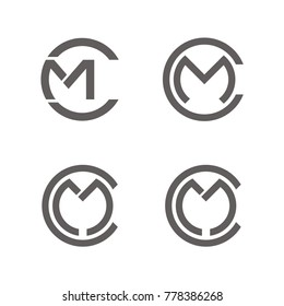 CM logo, MC logo design template vector illustration
