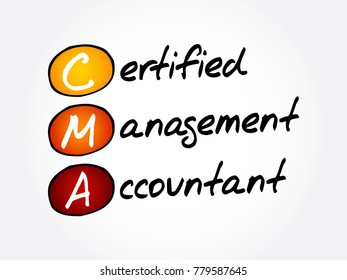 CMA – Certified Management Accountant acronym, business concept background
