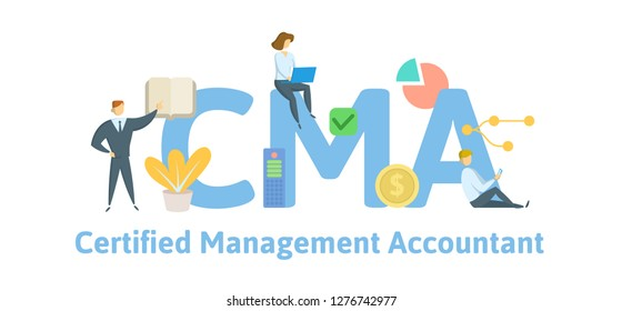 CMA, Certified Management Accountant. Concept with keywords, letters and icons. Colored flat vector illustration. Isolated on white background.