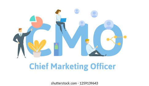 CMO, Chief Marketing Officer, acronym business concept background. Concept with keywords, letters, and icons. Colored flat vector illustration. Isolated on white background.