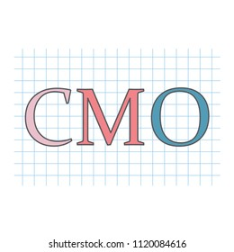 CMO (Chief Marketing Officer) written on checkered paper sheet- vector illustration