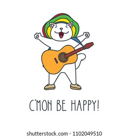 C'mon be happy! Doodle vector illustration of cute rasta cat with guitar.