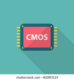 CMOS icon , Vector flat long shadow design.