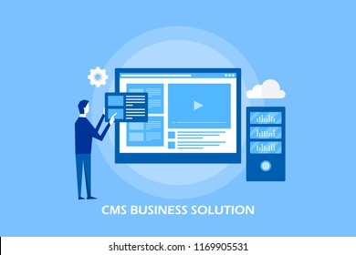 CMS business solution - Content management system vector concept isolated on blue background