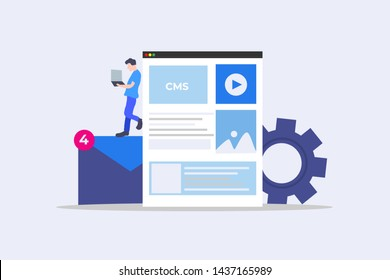 cms content management system administration. CMS. Blogging, Blogger. Freelance. Creative writing. Copy writer. Content vector illustration concept for web landing page template, banner, flyer