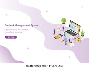 cms content management system concept with laptop and website page with secure login for website template or landing homepage - vector