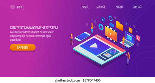 CMS, Content management system, Content database, 3D, isometric, vector banner