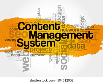 CMS - Content Management System word cloud collage, business concept background