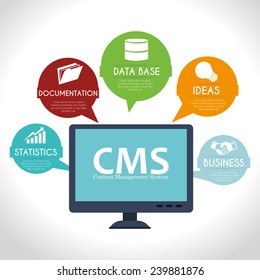 CMS design over white background, vector illustration.