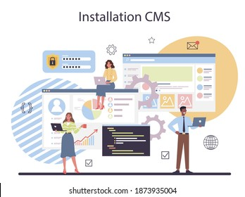 CMS instalation. Content management system. Creation and modification of digital content. Idea of digital strategy and content for social network making. Isolated flat illustration