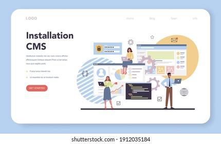CMS instalation web banner or landing page. Content management system. Creation and modification of digital content. Idea of digital strategy and content for social network. Isolated flat illustration