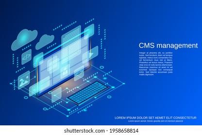 CMS management, web application development, website interface design flat 3d isometric vector concept illustration
