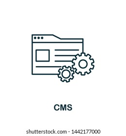 Cms outline icon. Thin line concept element from content icons collection. Creative Cms icon for mobile apps and web usage.