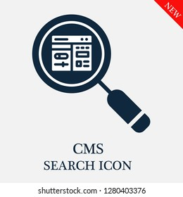 Cms search icon. Editable Cms search icon for web or mobile.