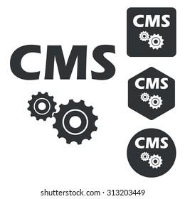 CMS settings icon set, monochrome, isolated on white