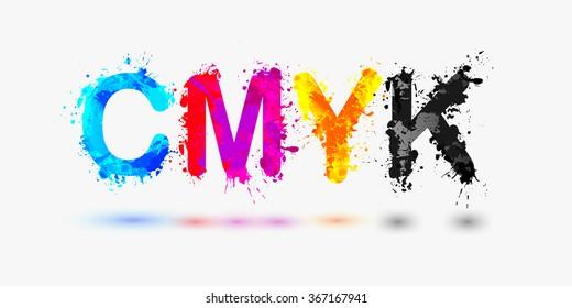 CMYK abbreviation. Splash paint