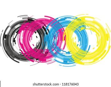 cmyk abstract camera lens