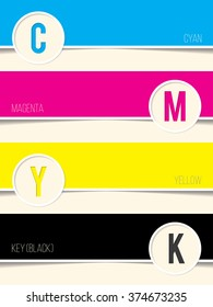 Cmyk background with copy space for every swatch