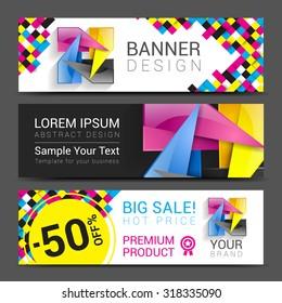 CMYK Banners logo element modern design color.