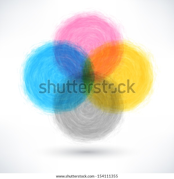 CMYK brush stroke in the form of a circle with drop black shadow. Drawing created in ink sketch handmade technique. Abstract color textured shapes. Vector illustration design element save in 10 eps