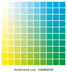 cmyk color chart to use in prepress and printing. Used to pick color swatches. Yellow and cyan are base colors and others has been created combining them. tints and ink catalog for graphic arts