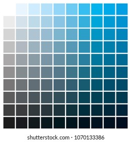 cmyk color chart to use in prepress and printing. Used to pick color swatches. Cyan and black are base colors and others has been created combining them. tints and ink catalog for graphic arts