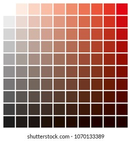 cmyk color chart to use in prepress and printing. Used to pick color swatches. Red and black are base colors and others has been created combining them. tints and ink catalog for graphic arts