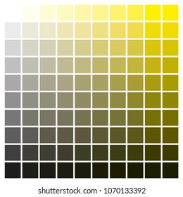 cmyk color chart to use in prepress and printing. Used to pick color swatches. Yellow and black are base colors and others has been created combining them. tints and ink catalog for graphic arts