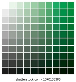 cmyk color chart to use in prepress and printing. Used to pick color swatches. Green and black are base colors and others has been created combining them. tints and ink catalog for graphic arts