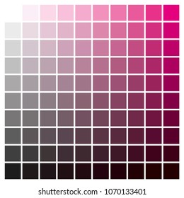 cmyk color chart to use in prepress and printing. Used to pick color swatches. Magenta and black are base colors and others has been created combining them. tints and ink catalog for graphic arts