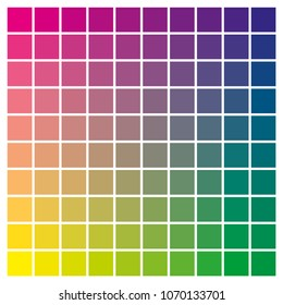 cmyk color chart to use in prepress and printing Used to pick color swatches. Magenta, yellow and cyan are base colors and others has been created combining them tints and ink catalog for graphic art