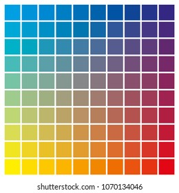 cmyk color chart to use in prepress and printing Used to pick color swatches. Cyan, yellow and magenta are base colors and others has been created combining them tints and ink catalog for graphic art