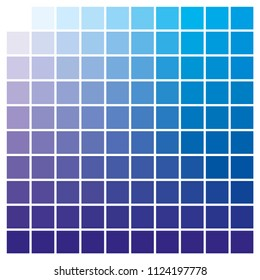 cmyk color chart to use in prepress and printing. Used to pick color swatches. Blue and cyan are base colors and others has been created combining them. tints and ink catalog for graphic arts