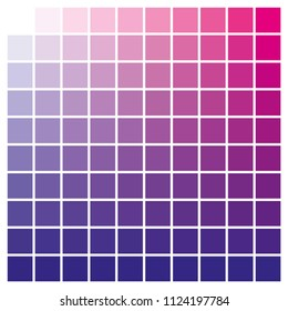 cmyk color chart to use in prepress and printing. Used to pick color swatches. Blue and magenta are base colors and others has been created combining them. tints and ink catalog for graphic arts
