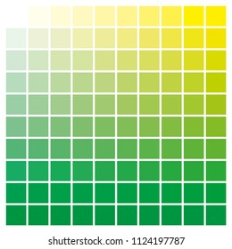 cmyk color chart to use in prepress and printing. Used to pick color swatches. green and yellow are base colors and others has been created combining them. tints and ink catalog for graphic arts